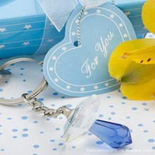 (DHL,UPS,Fedex)FREE SHIPPING+50pcs/Lot+Blue Crystal Pacifier Key Chain Ring Baby Boy Baptism Gift For Guest