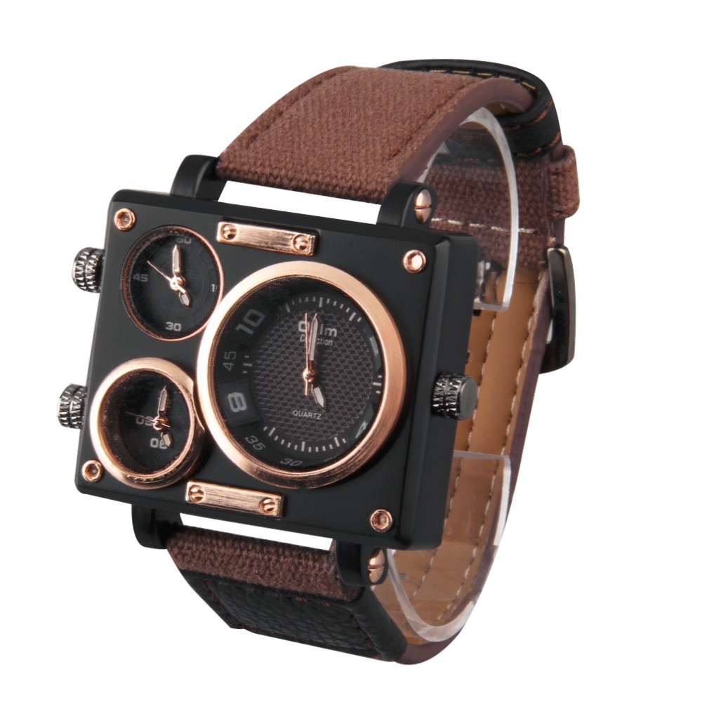 Oulm Professional Mens  3595 Big Square Dial 3 Time Zone Movement Quartz Leather Wrist Watch Relogio Feminino Hot!<br><br>Aliexpress