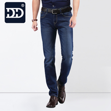 2016  Famous Brand  Factory Leather Zipper Men Jeans 2016 Deep Blue Slim Straight Jeans Men Pants Masculina Vaqueros Trouse Men