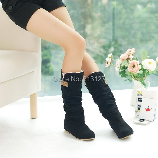winter style round toe flat flock fashion knee-high heel boots women casual botas femiinas suede snow boots fro women AWB715B<br><br>Aliexpress