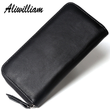 Aliwilliam Original Men Wallets Split Leather Brand Luxury Long Wallet Male Purse Top Quality Clutch Man Business Money Purses