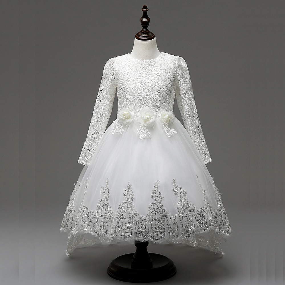 Spring/Autumn princess girls dress long sleeve lace dress floral edge flower girls wedding dress party children clothes<br>