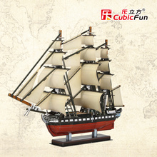 Cubicfun 3D paper models DIY puzzle toy gift Model of the United States USS. Constitution sailing boat USA T4024h children