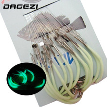 DAGEZI 30pcs/pack Luminous Fishing Hook 12-18# Barbed Hooks Pesca Tackle Accessories High Carbon Steel fishing Hooks