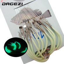 DAGEZI 30pcs/pack Luminous Fishing Hook 12-18# Barbed Hooks Pesca Tackle Accessories High Carbon Steel fishing Hooks(China)
