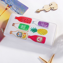 Original Cartoon Graffiti Printing Women Zipper Long Wallet Multicolor Polyester Large Capacity Ladies Purses Organizer Wallets