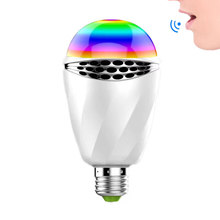 AC90-260V RGBW E27 Smart Voice Control LED Bulb Without Connect Bluetooth or Wifi Control For LED Smart Desk lamp Bedroom Light(China)