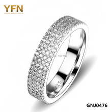 GNJ0476 New 2016 Promotion Genuine 925 Sterling Silver Jewelry Micro pave 4-Row Full Cubic Zirconia Wedding Rings For Women