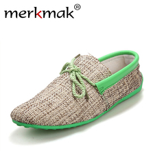 Dropshipping Men Shoes Summer Breathable Fashion Weaving Casual Shoes Soft Lace-up Comfort Men's Loafers Driving Mocassins(China)