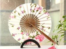 50pcs/lot Delicate Cherry Bloom Printing Folding Bamboo Fan Japanese Chinese Wedding Favors Pocket Fan Free Shipping(China)