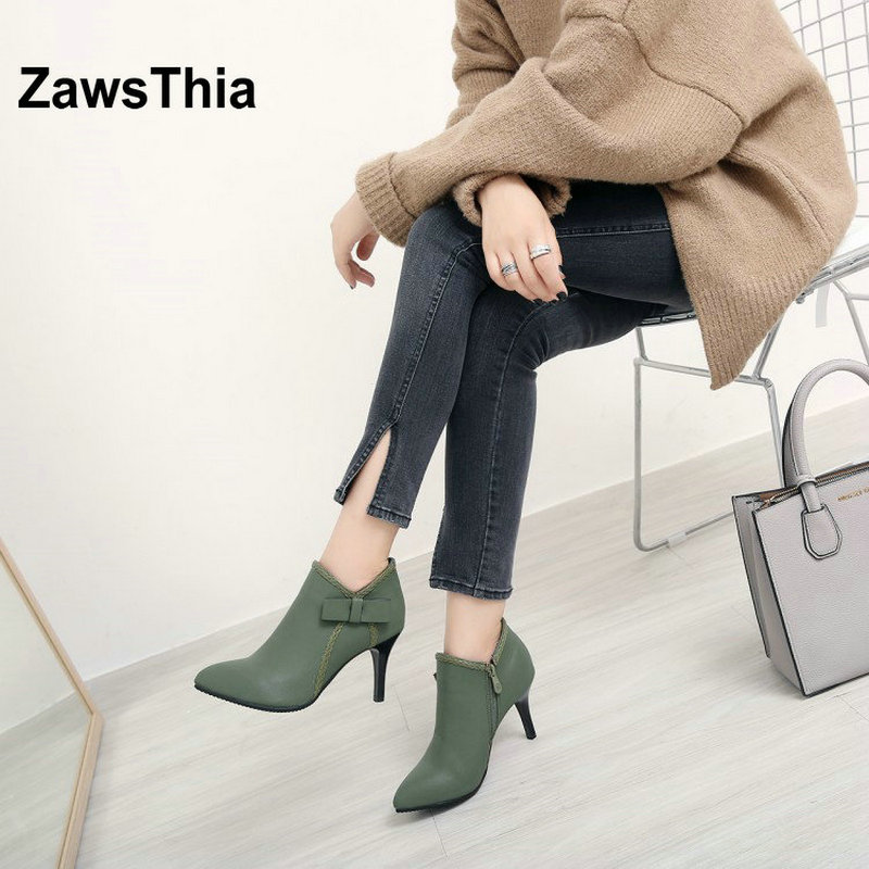 ZawsThia sweet lady high heels shoes spring fall winter pumps boots for woman olive green women ankle boots with bowtie bowknot<br>