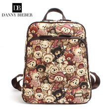 DANNY BIEBER Cute Bears Cartoon Backpack for Women Girls Canvas Bag Lovely Printing Rucksacks Backpack Youth Travel Shoulder Bag(China)