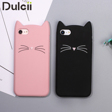 i5s i6 i7 Lovely 3D Cat Case for iPhone 5s 6 6Plus 7 7Plus Soft Silicone Back Cases Cute Kitty Phone Cover for Apple7 7+ 6+ SE