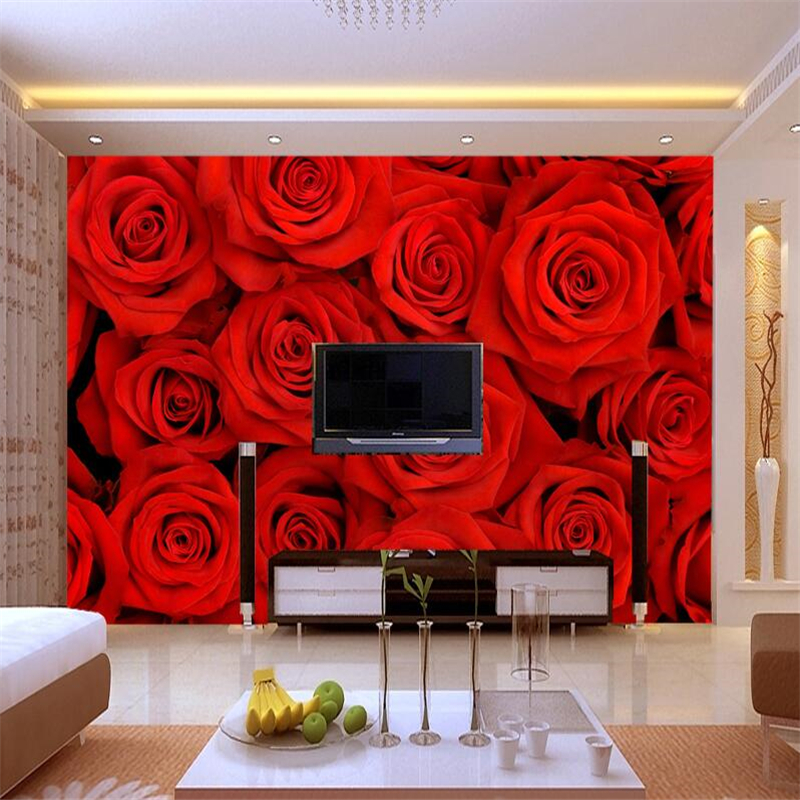 Wallpaper waterproof big romantic red rose 3 d pictures on the wall mural wallpaper 3 d sitting room sofa bedroom  wallpapers<br><br>Aliexpress