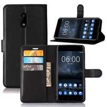 Nokia 6 Case Leather Flip Back Cover For 5.5 inches Nokia 6 With Stand And Wallet