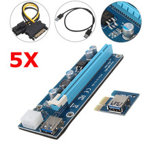 5pcs USB3.0 PCI 1x to 16x Powered Express Riser Board PCI-E Extender SATA Adapter Card Cable SATA to 6 Pins Power for BTC Miner