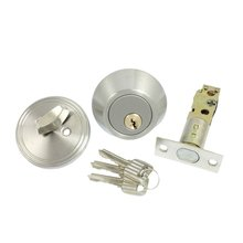 THGS Home Door Locking Security Single Cylinder Deadbolt Lock Silver Tone(China)