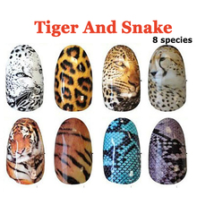 4Pcs Mixed Animal Series Leopard/Tiger Decals Nail Art Sticker Decor Decals DIY Styling Beauty Tool