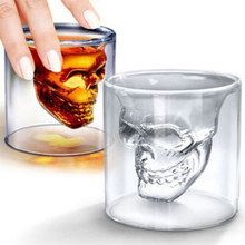 4 Sizes Skull Glass Shot Glass Beer Wine Whiskey Halloween Decoration Creative Party Transparent Drinkware(China)