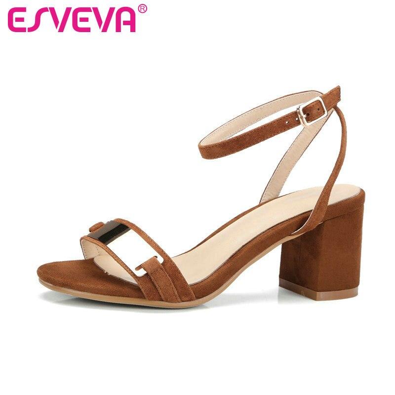 ESVEVA 2017 Western Metal Decoration Summer Peep Toe Sandals Square High Heel Sandals Kid Suede Shoes Wedding Shoes Size 34-39<br>