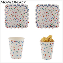 16pcs Colorful Dot Paper Disposable Plates Cups Wedding Supplies Foild Bronzing Baby Birthday Party Decoration Accessories