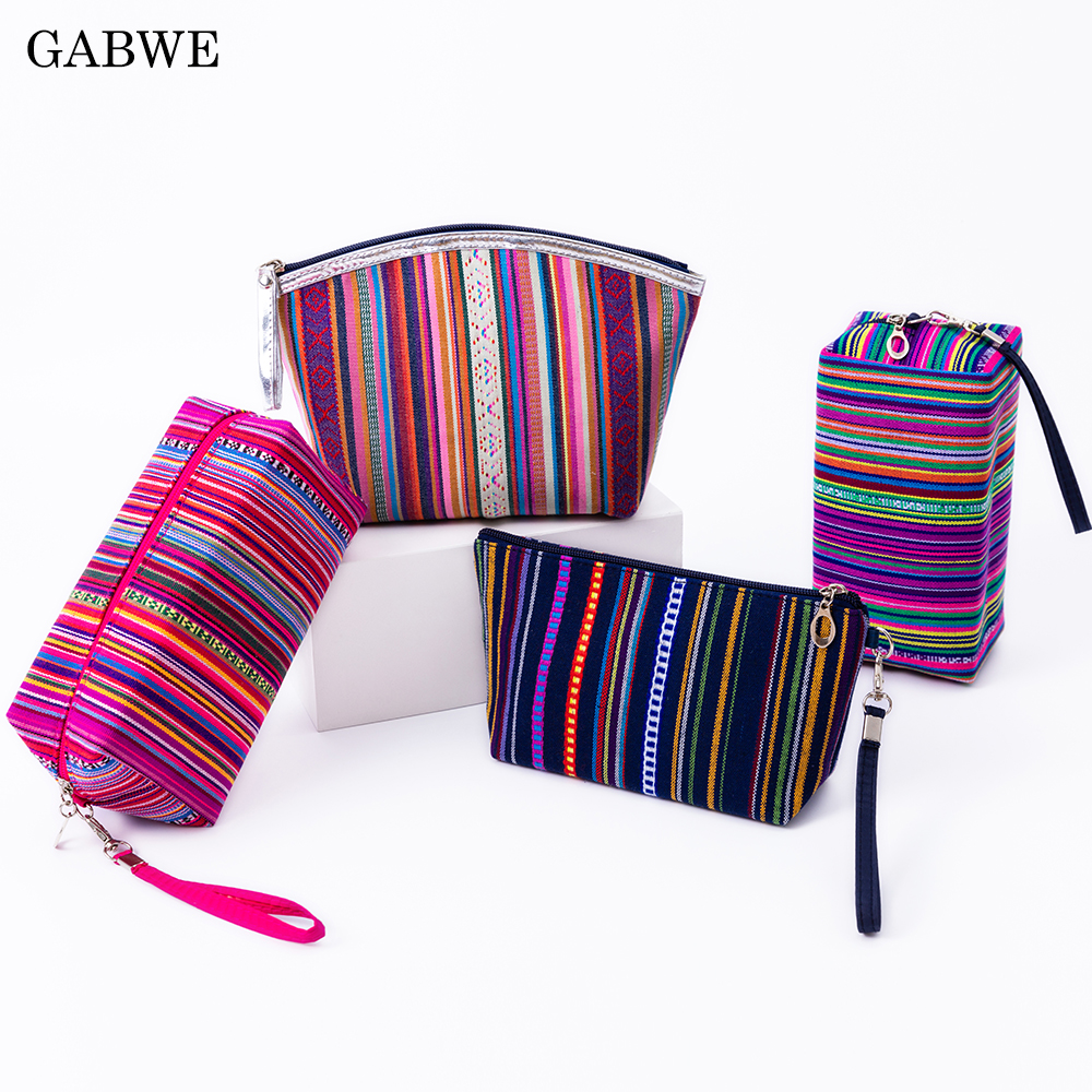GABWE New Vintage Women Cosmetic Case Cotton Striped Retro Makeup Bag Beauty Organizer Travel Pouch Necessarie Toiletry Wash Bag title=