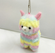 Popular Gift - 13cm Rainbow Stripes Australia Alpaca Plush Stuffed Toy , keychain pendant Animal Plush Toy Doll