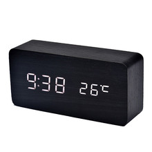 Fashion Simple Design Wooden LED Alarm Clock Temperature Sounds Control LED electronic desktop Digital Alarm Clock Hot Sale