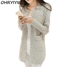 OHRYIYIE Autumn Winter Women Casual Long Sleeve Knitted Cardigans 2017 New Crochet Ladies Sweaters Fashion Tricotado Cardigan