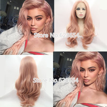Kylie Jenner Sexy Rose Gold Color Wig Smoke Pink Hair Synthetic Lace Front wig Natural Wave Hair Soft Heat Resistant FiberNewwig