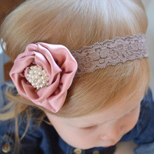 1pc Satin Flower with Diamond Stone Girls Headband Children Rose Lace Hairbands Bebes Cetim flores faixa de cabelo de diamante(China)