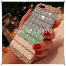 Bling Pink Blue Crystal Diamond Rhinestones capa para cover phone cases For Apple iphone 5C 5 C with Dust plug Free shipping
