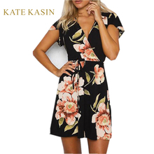 Buy Kate Kasin Boho Style Mini Dress Summer Beach Dresses Floral Print V-neck Vintage Chiffon Black Sexy Dress vestidos de festa for $11.48 in AliExpress store