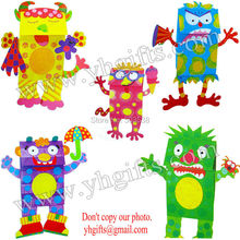 10PCS/Lot.DIY Paper Monsters hand puppets craft kit,Monsters crafts.Early educational toys,Creative toys,Family fun,5 design.