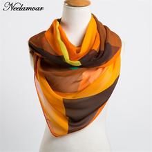 Neelamvar 2017 Autumn Winter scarf chiffon women  silk feeling scarf bandana geometric pattern new design long soft shawl hijab