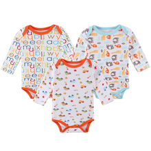 LONSANT 3Pcs Baby Rompers Long Sleeve 100% Cotton Baby Clothes Babies Jumpsuits Clothing Sets Comfortable Clothes Dropshipping(China)