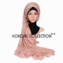 One piece muslim cotton linen lace hijab soft plain solid shawl scarves ladies 4 sides lace islamic scarf long wraps stole
