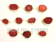 H-DPB05 10pcs Cherry Drusy  Agat Stone Connector Druzy Pendant  (RANDOM IN SHAPE)
