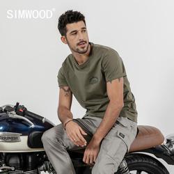 SIMWOOD футболка мужская с коротким рукавом летняя новая футболка с буквенным принтом Мужская 100% хлопок высокое качество плюс размер Винтажна...