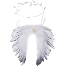 1 Set Newborn Baby Gold Silver Leaf Headband and Wings Costume Photo Photography Prop(China)