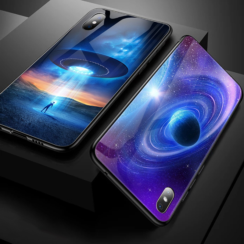 TOMKAS Luxury Space Cover Case for iPhone X Xs Max Xr Xs Glass Silicone Phone Case for iPhone 7 8 Plus Cases for iPhone 6 S 6s (9)