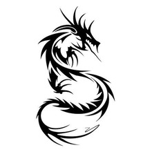 9*15.6CM Chinese Dragon Classic Vinyl Car Body Stickers Custom Car Styling Decals Black/Silver C9-0818