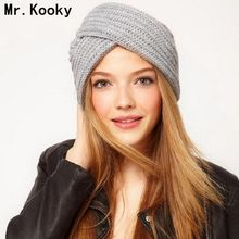 Mr.Kooky New Fashion Women's Knitted Turban Hats Funny Cute Beanies Cross India Plate Head Caps Ladies Winter Warm Gorras(China)