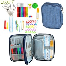 Looen 72pcs Crochet Hooks Set Soft Rubber Handle Yarn Knitting Needles Set with Nylon Case Knitting Accessories Perfect for Lady
