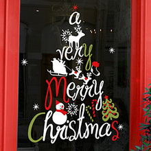 Large Christmas Wall Sticker X mas Christmas Tree Wall Window Glass Sticker Decal Home Decor Decoration Covering xmas002