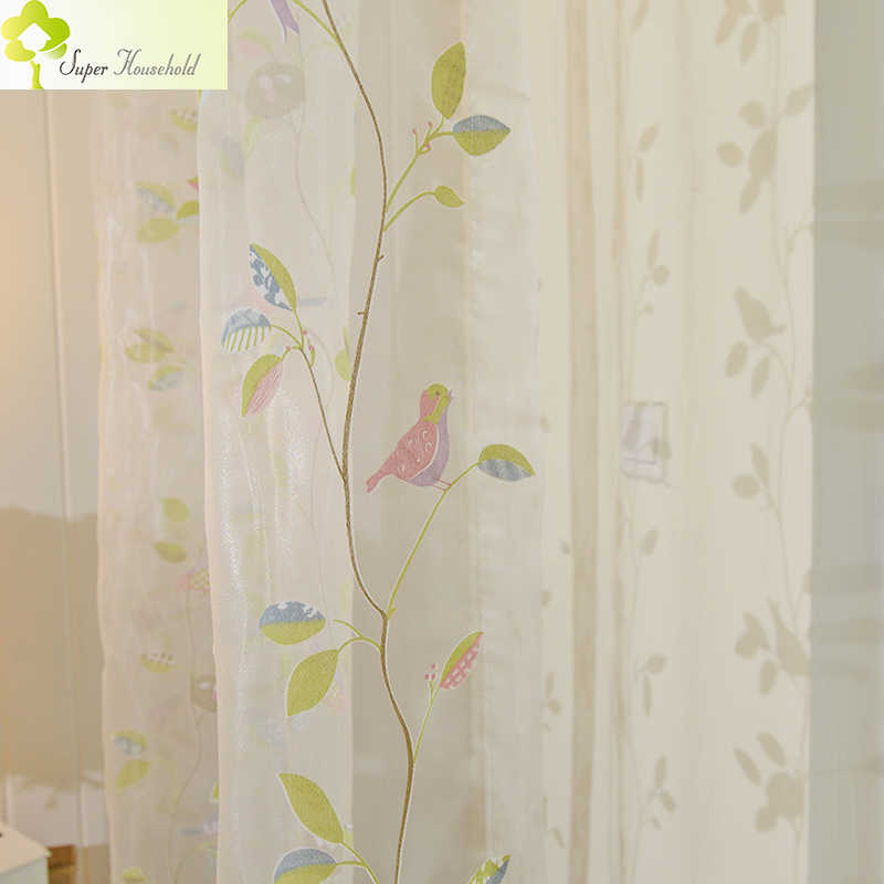Direct Selling Sale Cartoon Modern Cafe Cortina Birds Tulle For For Bedroom Window Treatments Sheer For Kids Room Custom Made