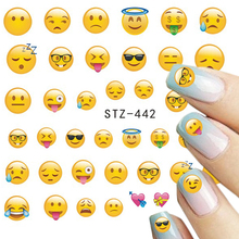 1 Sheets Various Phone Expression Designs for Water Transfer Sticker Decals Nail Art Tips Nail Art Tattoo STZ440-443