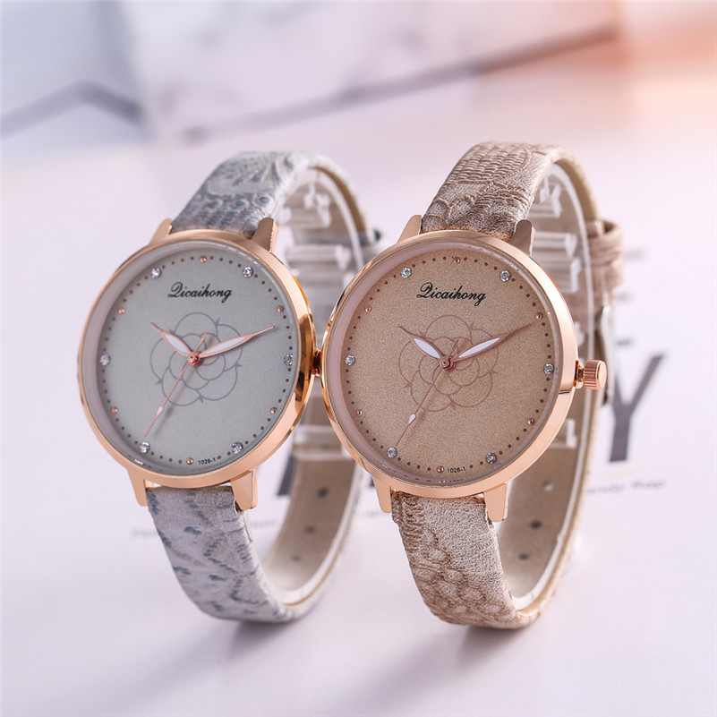 High Quality women fashion casual watch luxury dress ladies Leather Band Analog Quartz Round Wrist Watch clock bracelet M21 (14)