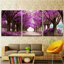 3pcs/lot 50X50cm Handpainted Pictures Painting By Numbers DIY Digital Oil Painting Purple Trees Road On Canvas Home Decor HD0108
