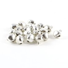 20 Pcs Christmas Jingle Bells 10 mm Silver Tone